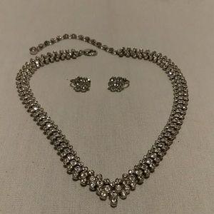 Glamorous rhinestone necklace w/matching clip ears